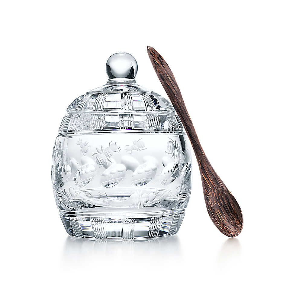 William Yeoward Bebe Honey Pot In Crystal With Wooden Spoon
