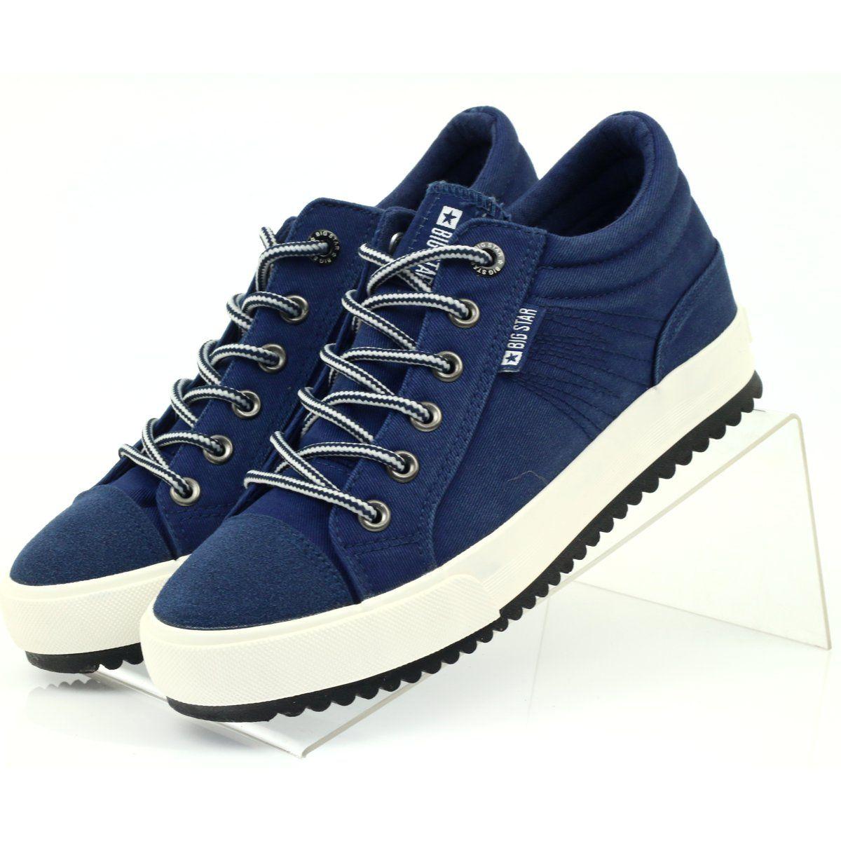 Trampki Na Koturnie Big Star 274502 Granatowe Star Sneakers Navy Blue Top Trainers Women