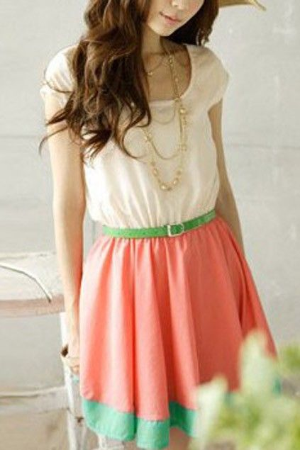 sweet contrast candy color panel sleeveless dress oasapcom - Buy Candy By Color