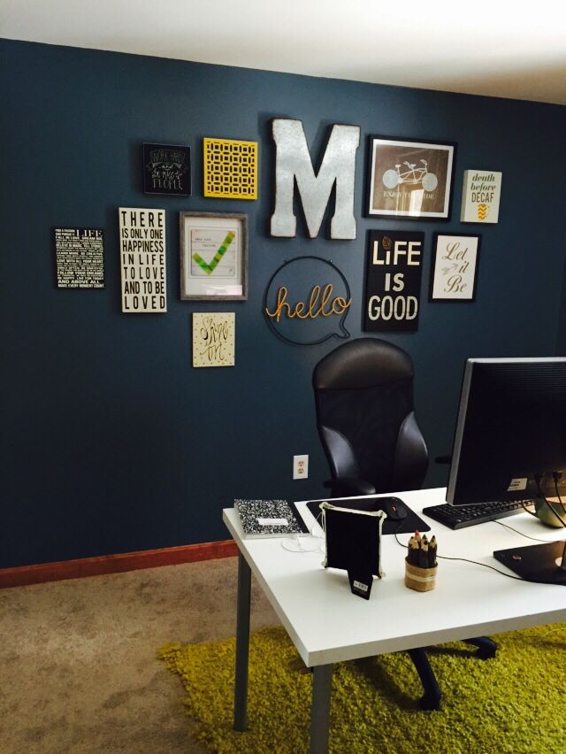 My Home Office On A Budget! Wall Color: Smoky Blue By Sherwin Williams.