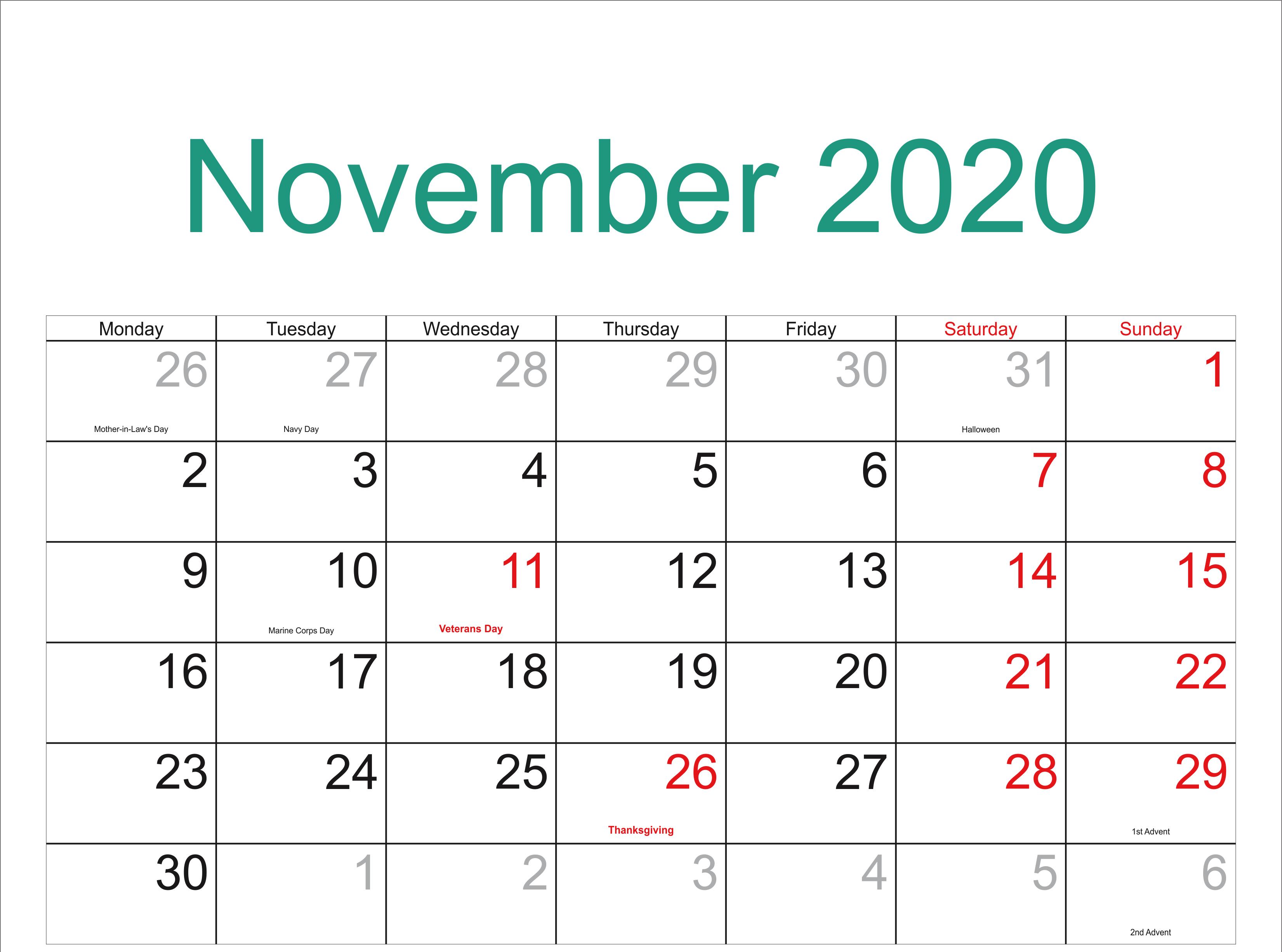 Blank November 2020 Calendar Calendar Template Calendar Printables Calendar Word