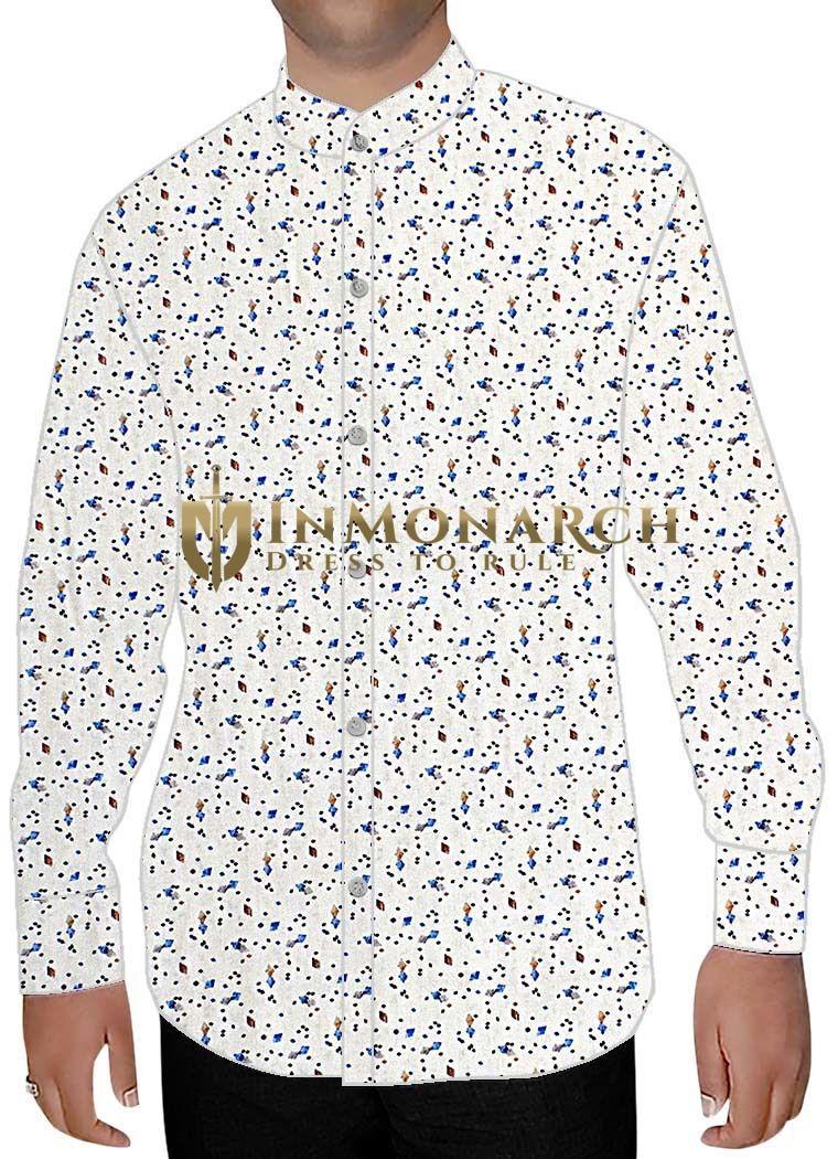 Mens White Cotton Nehru Collar Shirt Blue Print Nehru Shirts