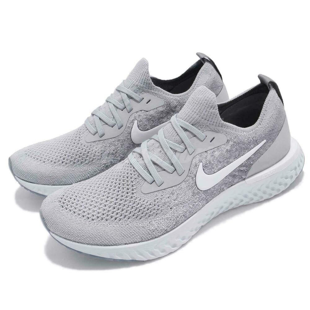 56d1926d3bd3 eBay  Sponsored Nike Epic React Flyknit GS Grey White Kid Youth Women Running  Shoes 943311