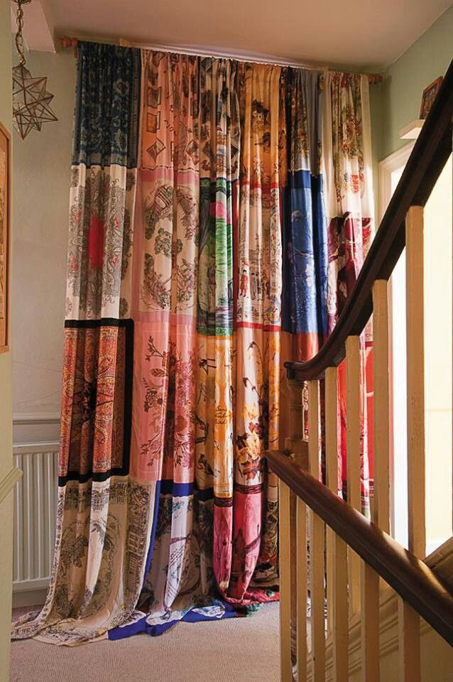 Vintage scarves used to make curtains | Patchwork quilt ...