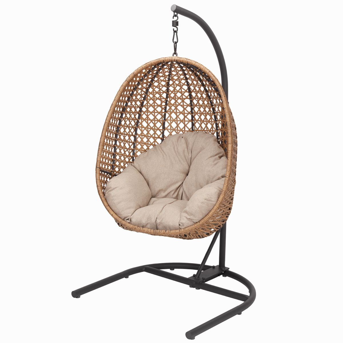 Better Homes Gardens Open Weave Patio Wicker Hanging Chair With Stand And Beige Cushion With Maximum Weight 250lbs Walmart Com Hanging Chair With Stand Swinging Chair Hanging Egg Chair Hanging wicker chair with stand