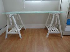 Ikea glasholm finnvard desk table glass egg pattern white for