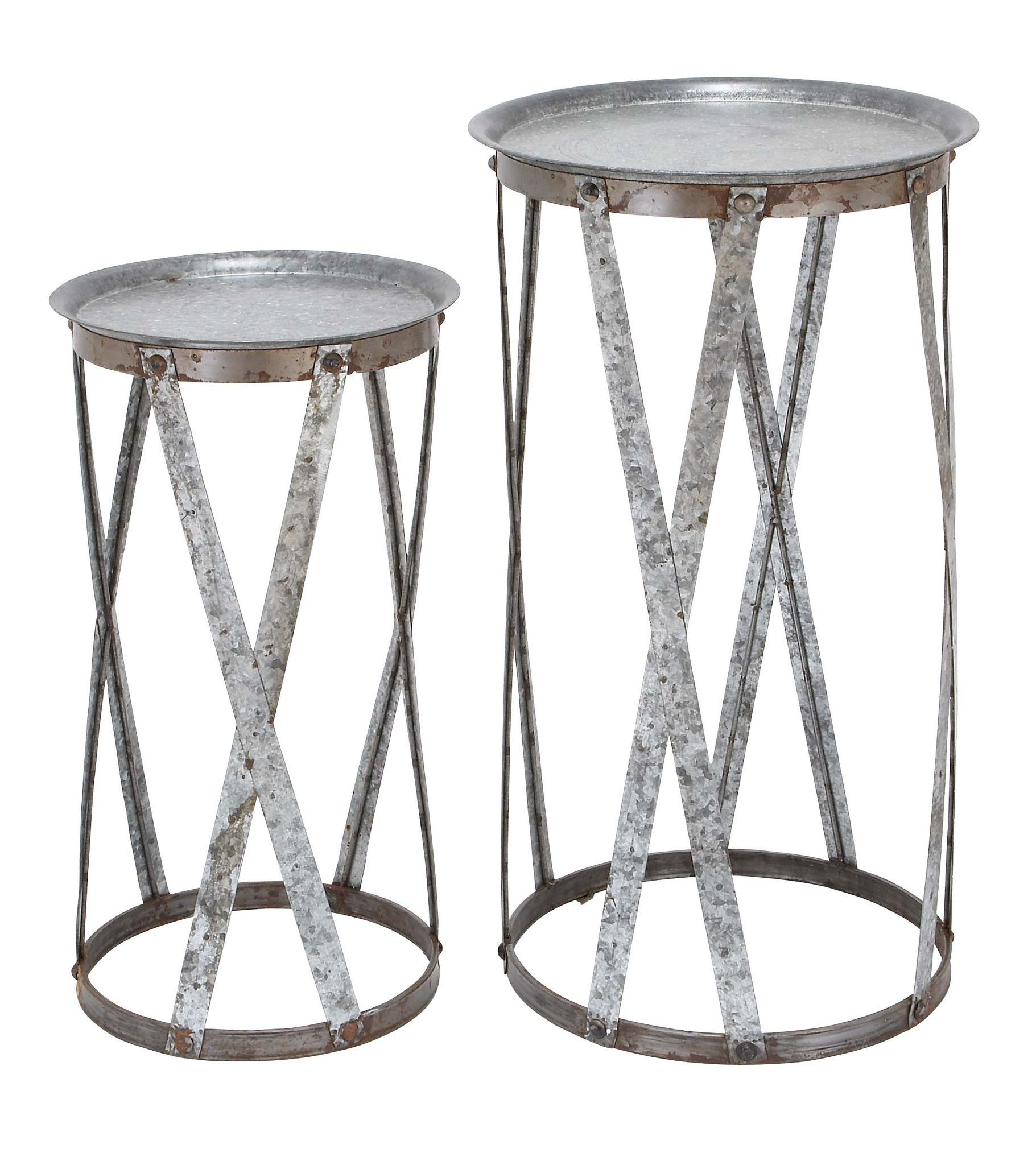 Conventional D Cor Metal Pedestal  Set Of 2