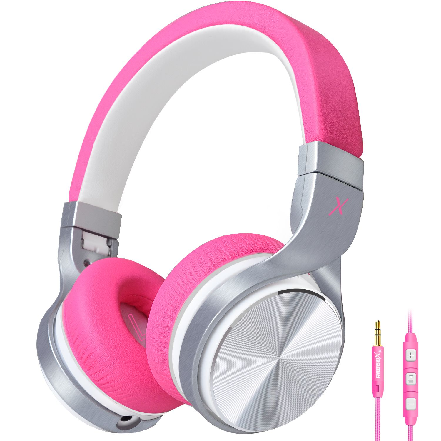 d9b76ecd1f0 Riwbox Over ear headphones for girls and kids pink headphones, girls  headphone best choice as gifts