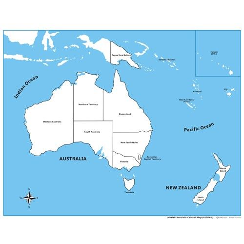 Labeled Australia Control Map - PP Plastic KidAdvance - new black and white world map with continents labeled