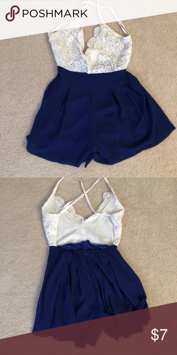 White lace and blue chiffon backless romper Worn once, sexy and fun! Dresses