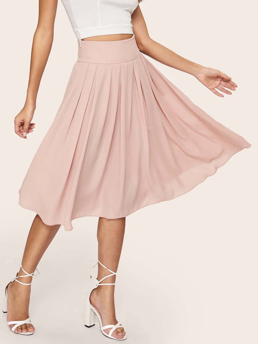 Wide Waistband Box Pleated Skirt Shein Pleated Midi Skirt Box Pleat Skirt Wide Waistband