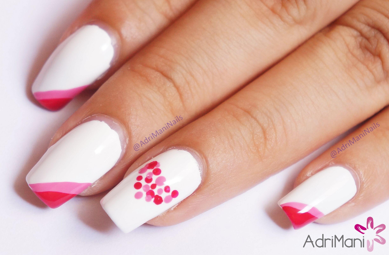 Diseño de uñas - San Valentín // Tutorial: youtu.be/QChMbiG4jn0 ...