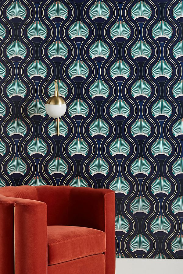 Riviere Marine Wallpaper Accent Wallpaper Wallpaper Chinoiserie Wallpaper