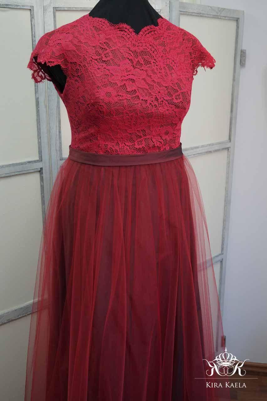 Abendkleid Maßanfertigung Abiball Kleid lang Brautkleid Rot Tüll