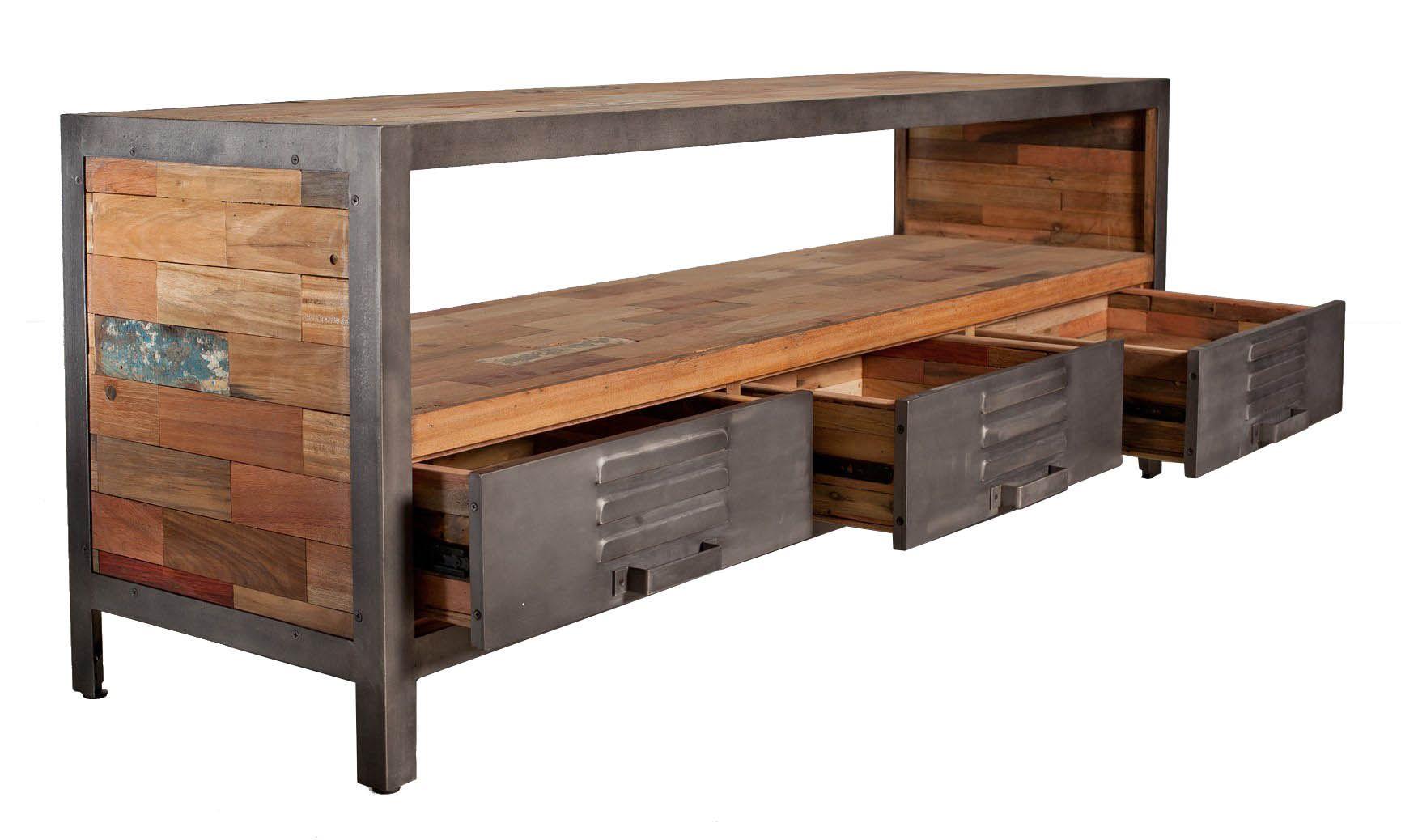 Meuble Tv Metal Bois Recycle 3 Tiroirs Caravelle Infos Et Dimensions Longueur 160 Cm Profondeur 45 Cm Hauteur 60 Cm Ma Decor Furniture Home Decor