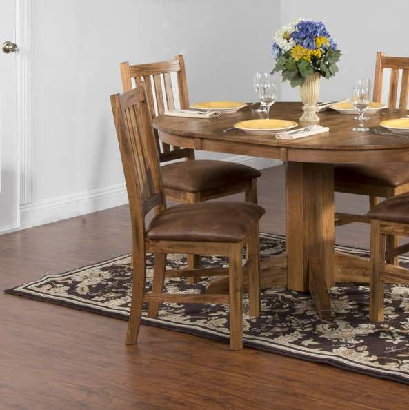 2 Sedona Rustic Oak Wood Armless Dining Table In Kitchen Dining
