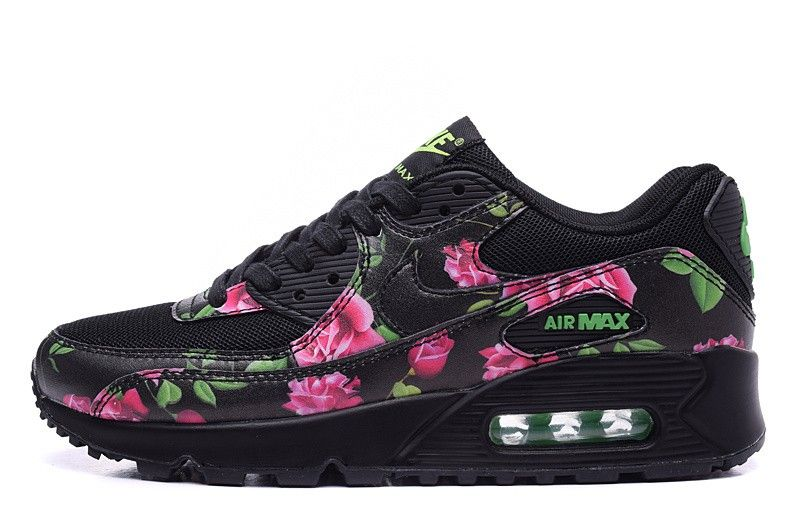 "2015 Nike Air Max 90 limited edition Women Shoes ""black rose"" - black Pink Flower"