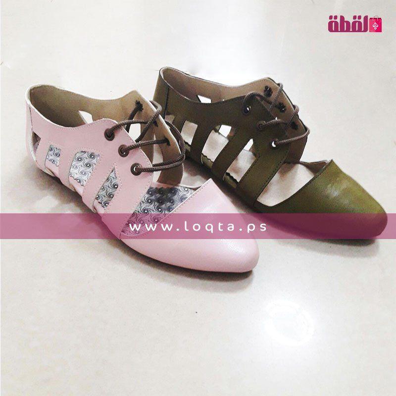 حذاء نسائي صيفي بفتحات من الجوانب طرف مدبب مع رباط Loqta Ps Pointed Flats Shoes Shoes Point Shoes