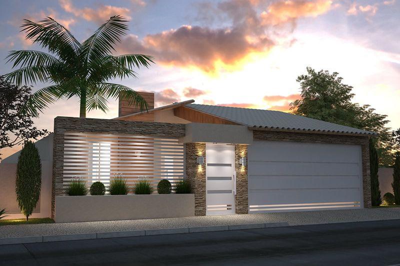 Modelos de fachadas de casas bonitas simples populares for Modelo de fachadas para casas modernas