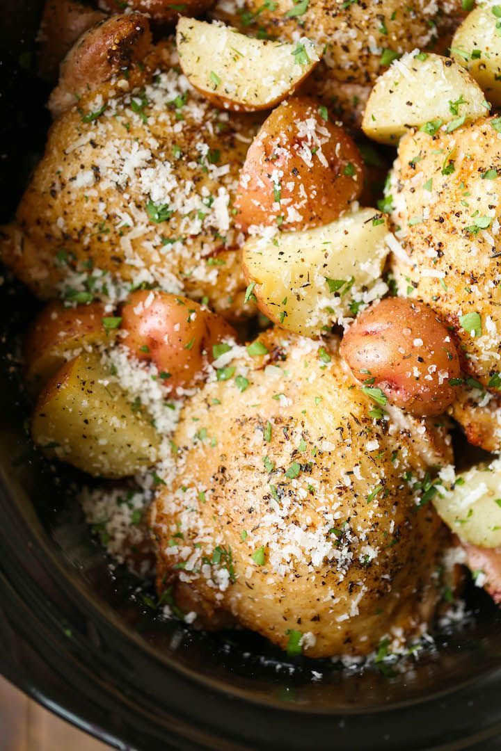 Slow Cooker Garlic Parmesan Chicken And Potatoes Recipe