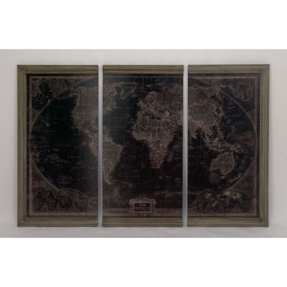Assorted antiqued world map wood wall panels set of innovative
