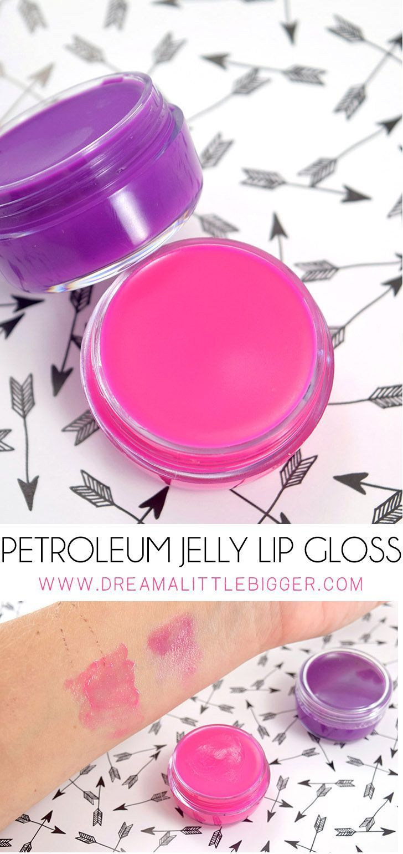 Diy petroleum jelly lip gloss in vibrant colors lip