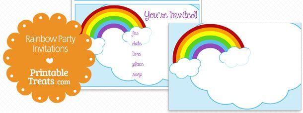 Printable Rainbow Party Invitations