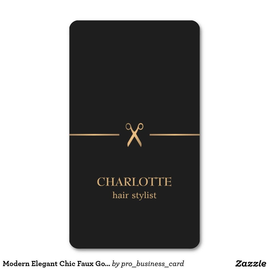 Modern Elegant Chic Faux Gold Black Hair Stylist Business Card ...