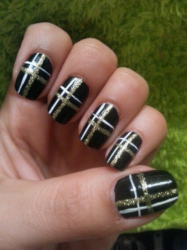Black Gold And White Nail Design Nails Manicure By Me Angela
