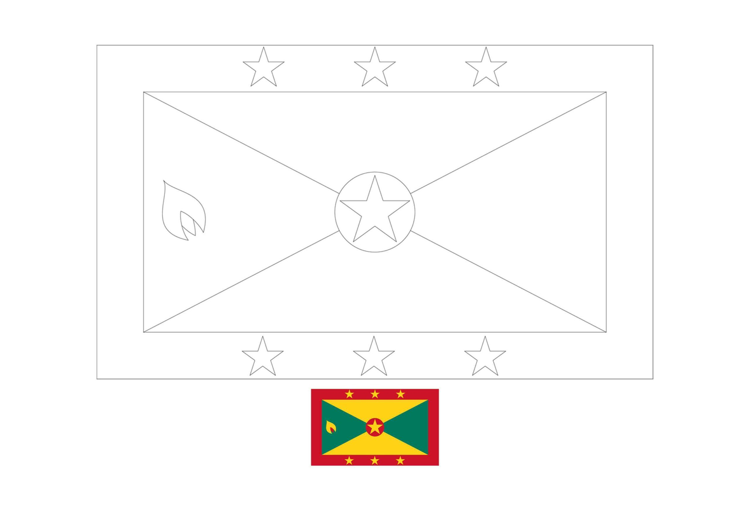 Grenada Flag Coloring Page Flag Coloring Pages Coloring Pages Grenada Flag