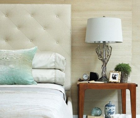 Interiors with a spa like feel -  Headboard is a nice start, the linens are pretty.