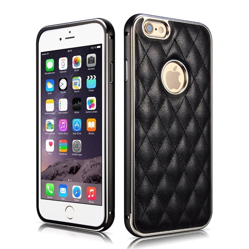 Luxury Leather Metal Bumper Frame Back Cover Case for iPhone 6 Cover Coque Aluminum Bumper Phone Case For iPhone 6 Case Fundas