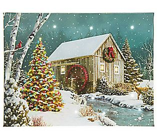 Illuminart Holiday Canvas Art W Fiber Optic Lights Timer Qvc Com Christmas Tree Canvas Holiday Canvas Lighted Canvas Art