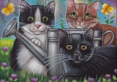 3 Kitties Spring Painting