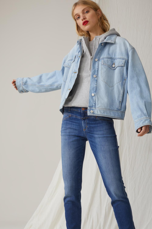 Pedal Queen Soft Stretch Blue Denim Closed Women Jeans Denim Jacket Cotton Sweatshirts