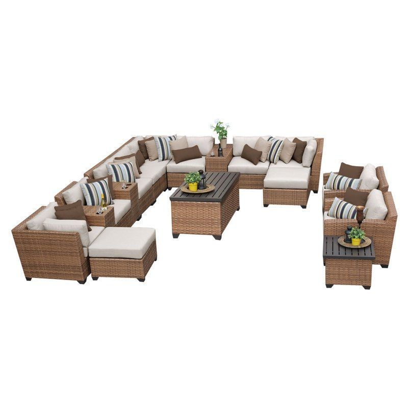 TK Classics Laguna Wicker 17 Piece Patio Conversation Set with Ottoman and 2 Sets of Cushion Covers Beige / Wheat - LAGUNA-17A-BEIGE