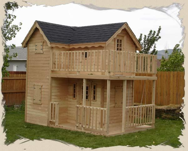 Double decker playhouse plans child 39 s outdoor wood for Cheap 2 story houses