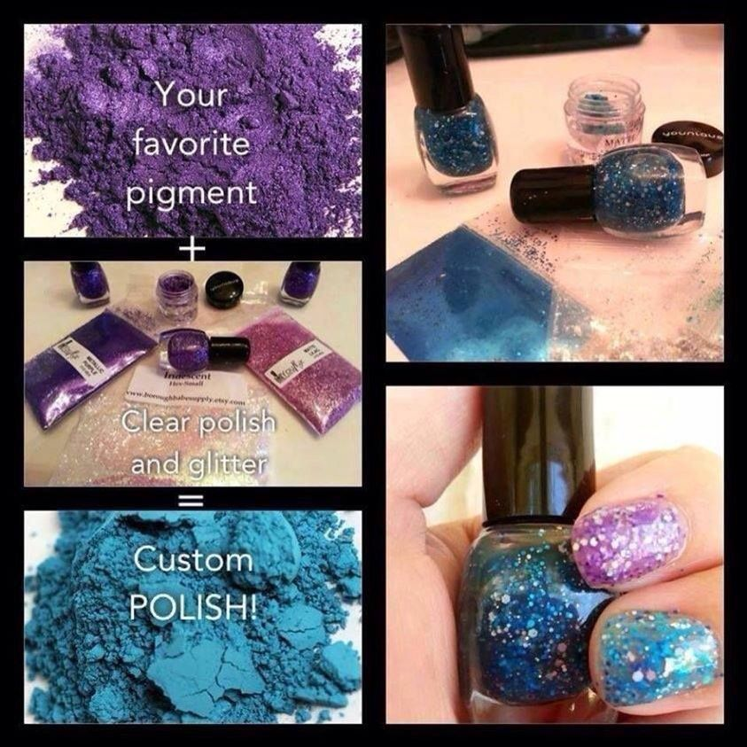 Make your own nail polish with Younique pigments and clear nail polish. #nails #nailart #polish #younique #makeup #glitter #queen #prom #dyi