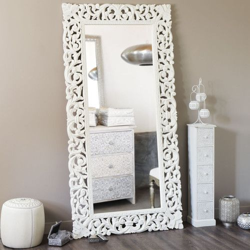 Spiegel Mit Geschnitztem Mangoholzrahmen 90x180