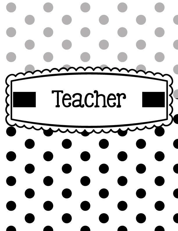 Black White Polka Dot Binder Covers Printable Editable Classroom