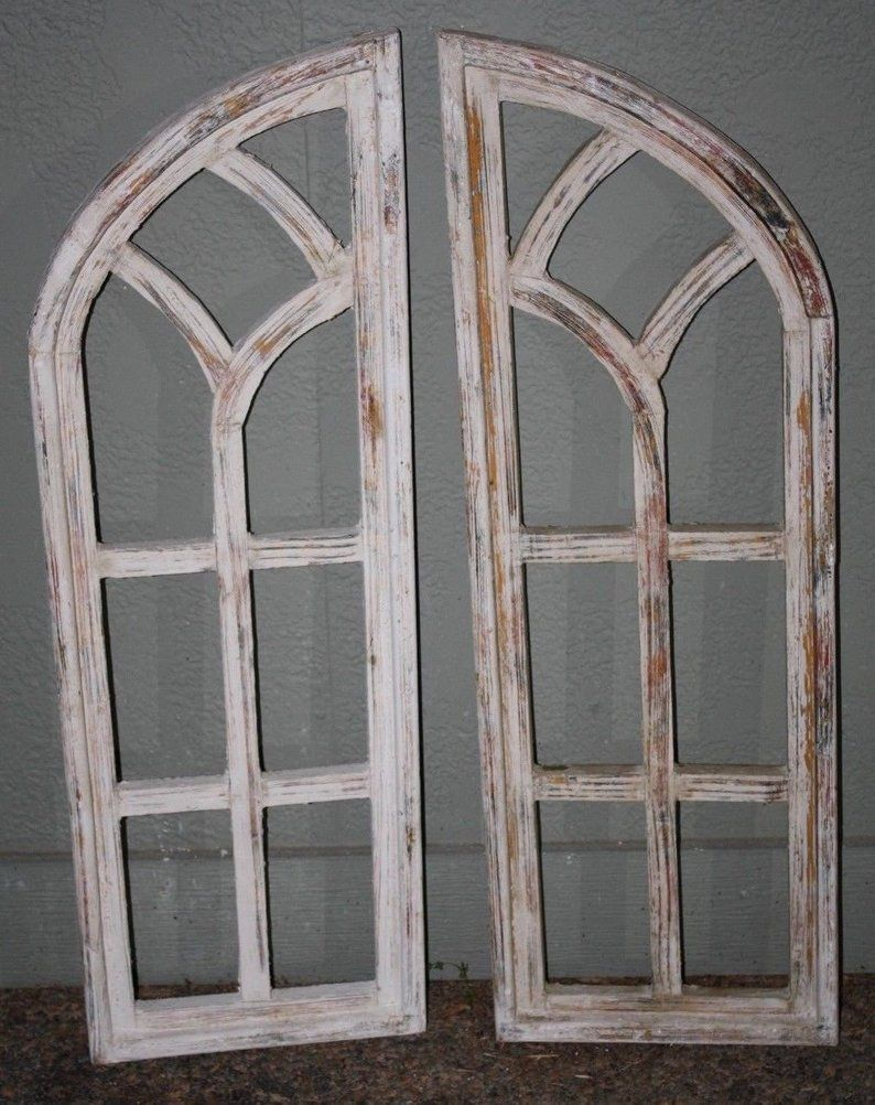 2 Wooden Antique Style Church Window Frame Shutters Wood Gothic 35 1 2 Shabby Wooden Window Frames Church Windows Antique Window Frames