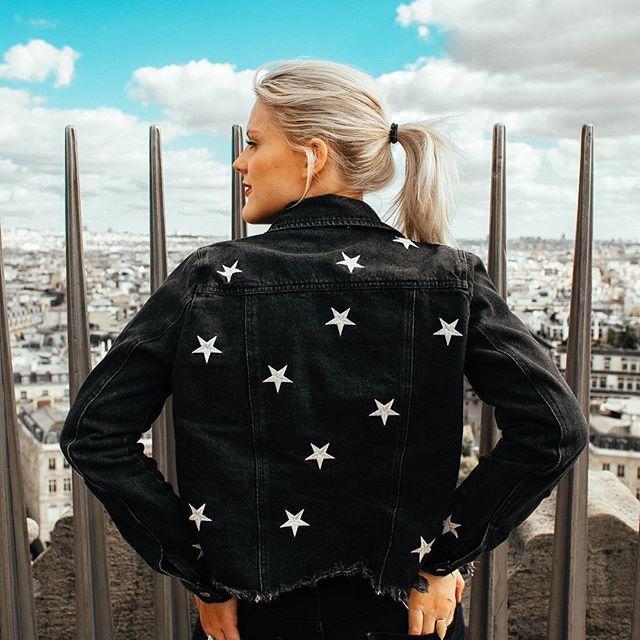 COCO MCCALL SHOP  shopcocomccall.com  star denim jacket, denim jacket, black denim jacket, arc de triomphe, paris