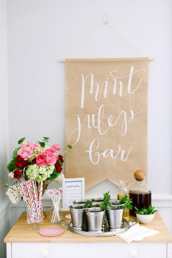 Mint Julep Bar Http Itweddings How To Host A Kentucky Derby Bridal Shower