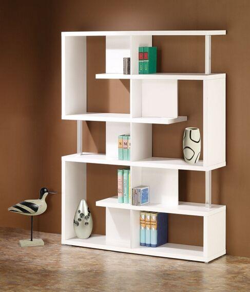 800310 Alternating Shelves Design Room Divider White Finish Wood Modern Styling Slim Line Bookcase Shelf Unit White Wood Shelves White Bookcase Bookshelf Design