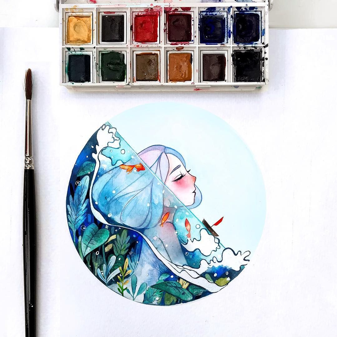 Tiny Painting I Really Enjoy To Draw The Ocean Elements Trying