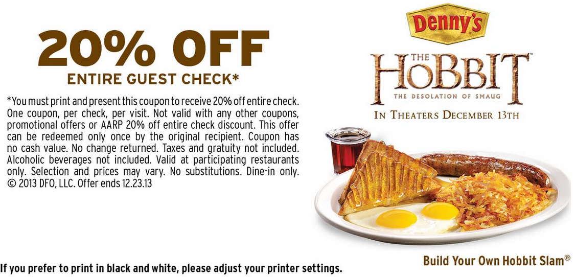 Bungalow 9 Restaurant Coupons Deals Discounts: DENNY'S $$ Coupon For 20% Off Entire Guest Check!