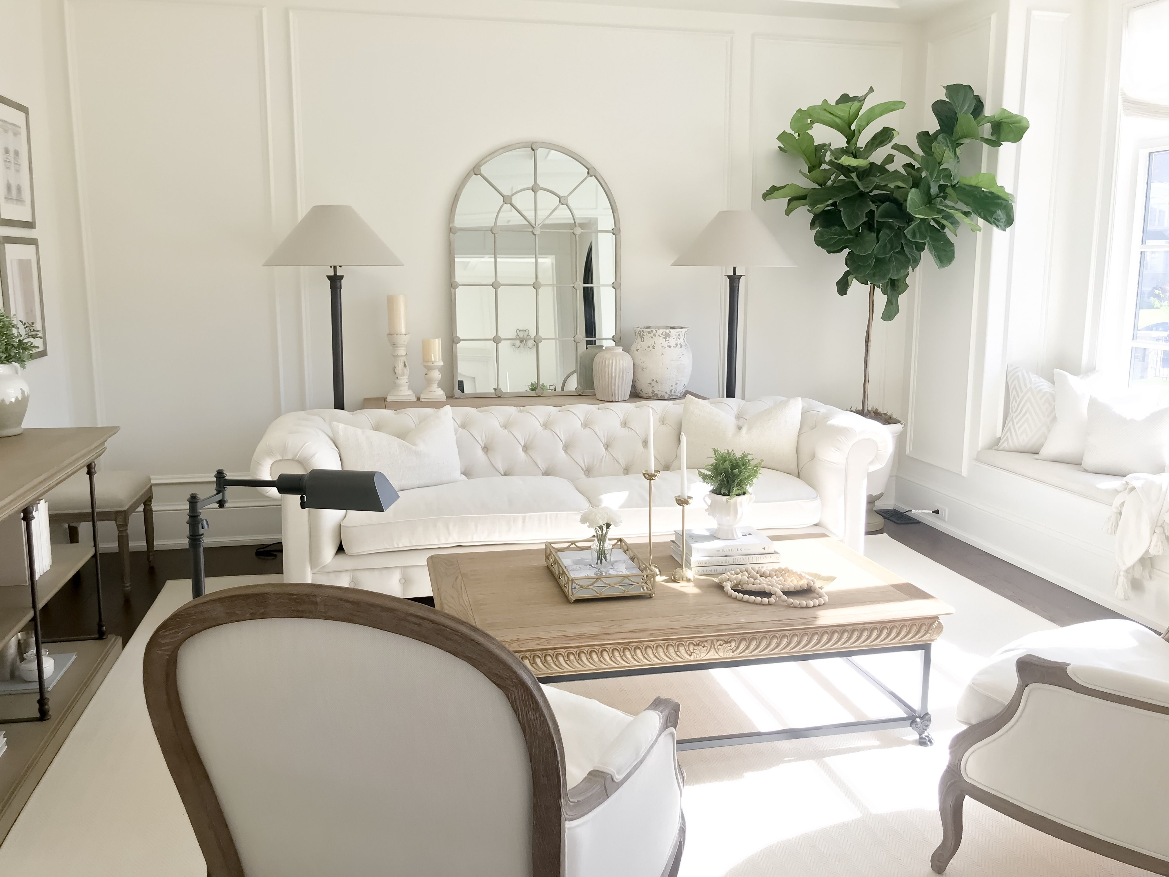White living room decor l interior design l tufted couch l restoration hardware l fiddle leaf