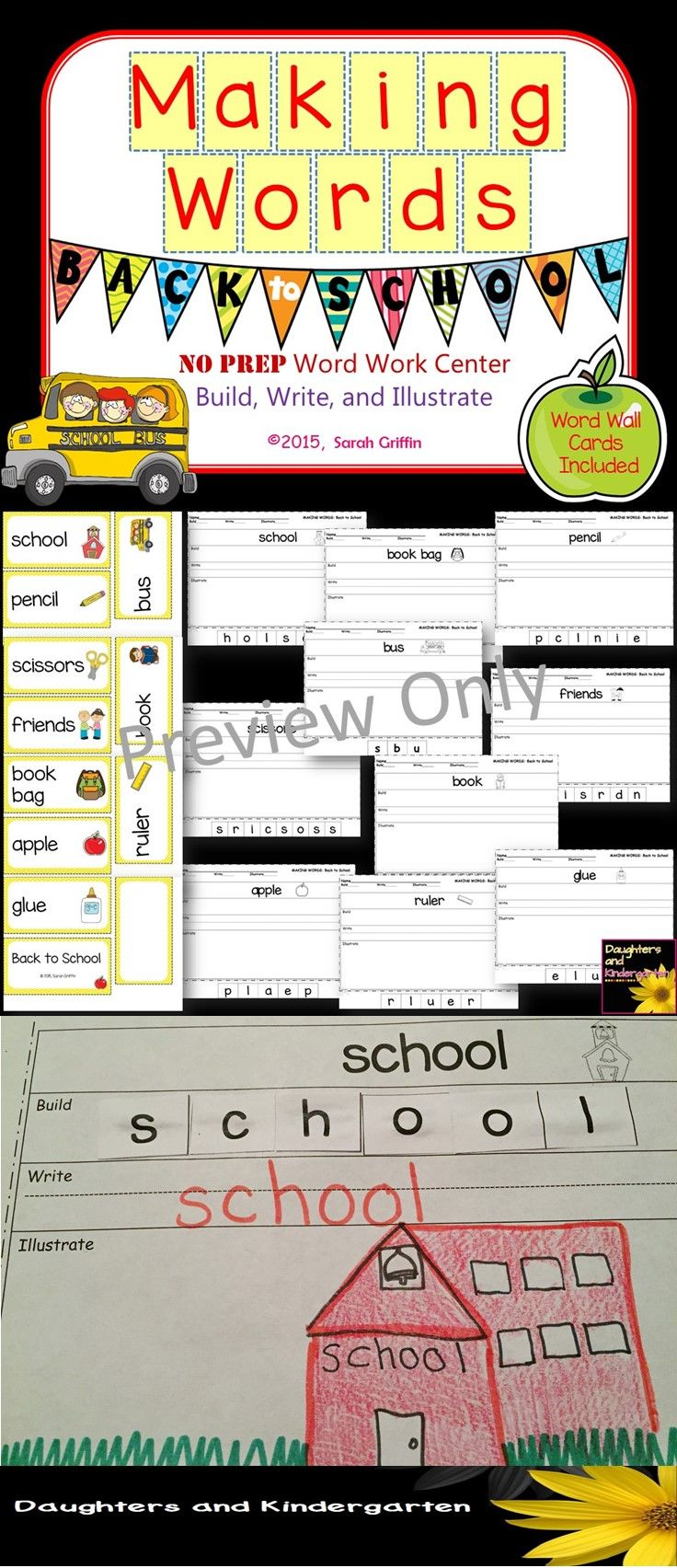 Making Words Back To School Writing Center Kindergarten Themes