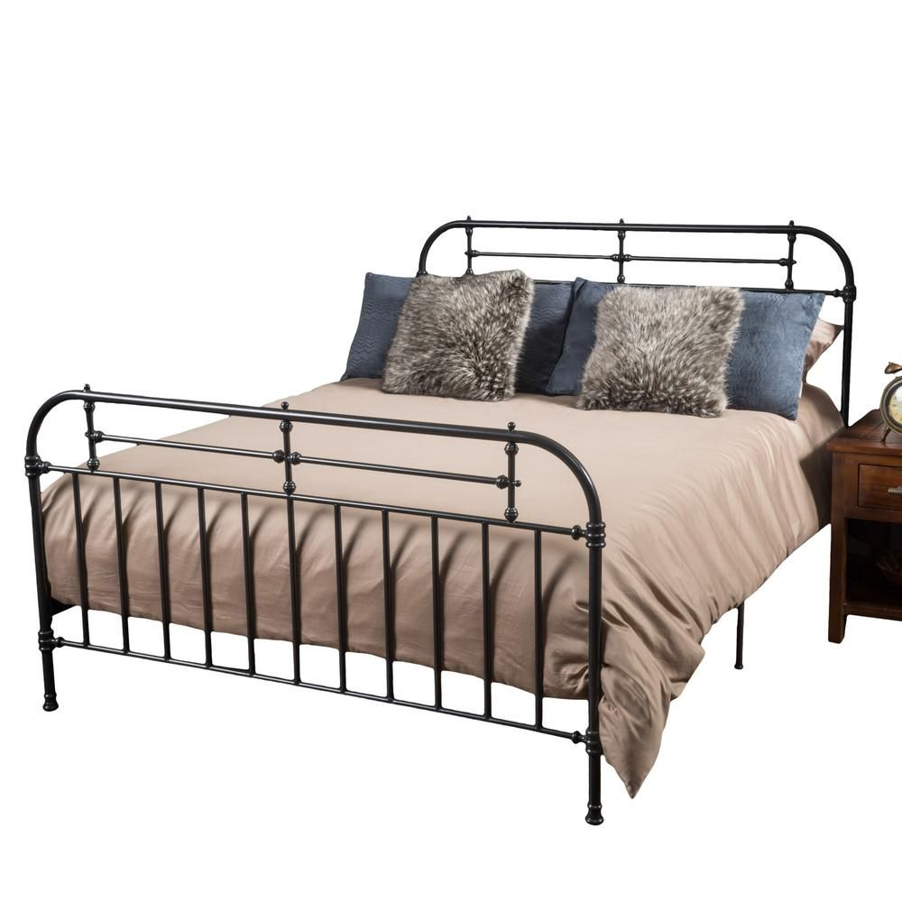 Noble House Charcoal Gray Iron Queen Victorian Bed Frame Bed