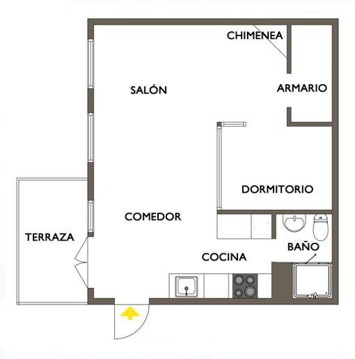 Plano de un apartamento de 50 metros ideas para decorar for Decorar un apartamento de 50 metros
